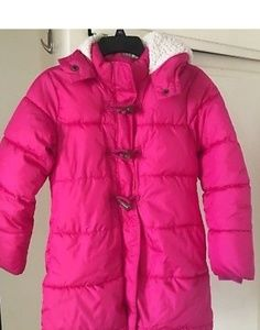 Old navy girl pink puffer coat size large(10-12)
